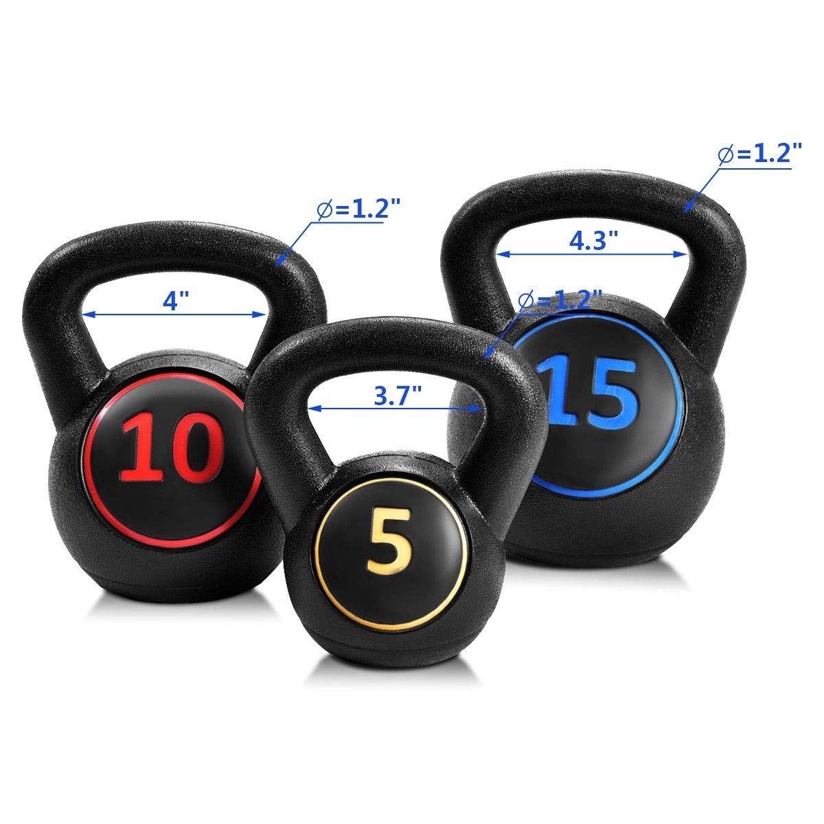 MD Group 3 pcs 5 10 15lbs Kettlebell Kettle Bell Weight Set by MD Group (Image #5)