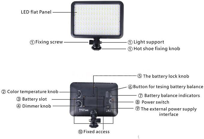 Koolehaoda ultra delgada de 204 LED Luz de Vídeo Color Dual Ajustable 3200K 5500K