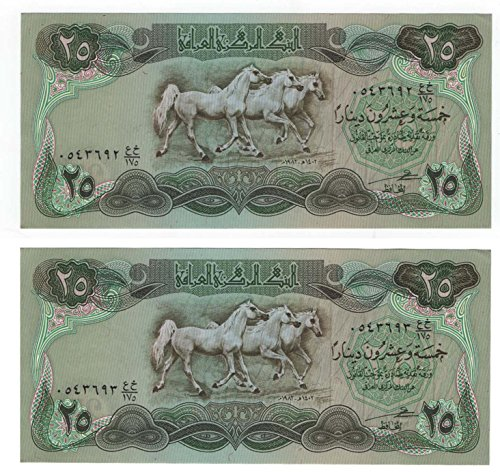 P72 Two Iraqi Bank Notes 25 Dinars with Consecutive Serial Numbers, Arabian Horses, Abbaside Palace issued 1982 Dark Panel
