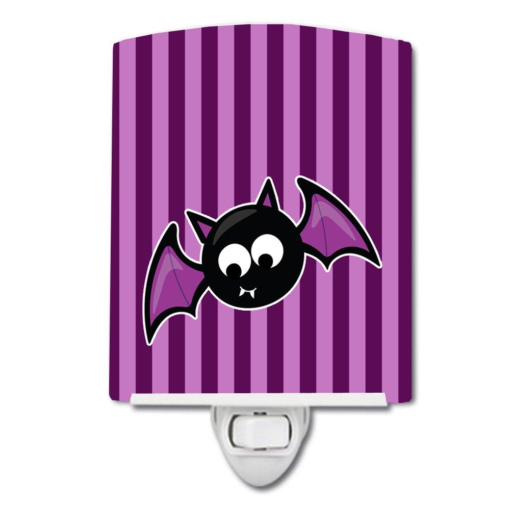 Green Carolines Treasures Halloween Bat Stripes Ceramic Night Light 6 x 4