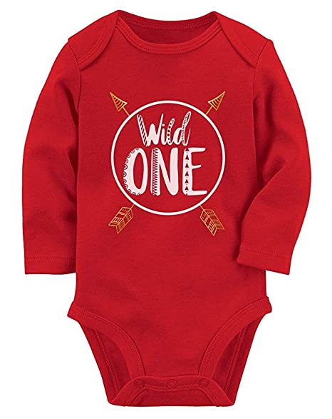 Amazon Wild One Baby Boys Girls 1st Birthday Gifts Year Old Long Sleeve Bodysuit Red Clothing