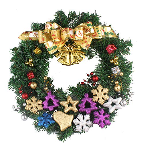 Goodtrade8 Clearance 50cm Christmas Wreath Rattan Bell Snowflake Leaves Fall Wreaths for Front Door Wall Window Decoration Ornament for Wedding Party Holiday Festival Décor (Gift) by Goodtrade8 Clearance