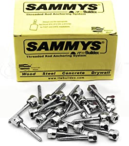 Sammys 8008957-25 Vertical Rod Anchor Super Screw with 3/8 in. Threaded Rod Fitting, 1/4 x 2'' Screw, for Wood (Pkg.=25)