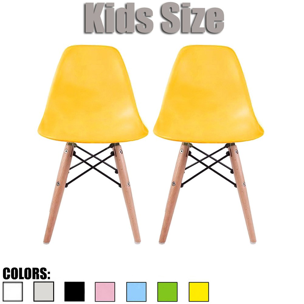 2xhome Set of Two (2) - Kids Size Plastic Side Chairs Plastic Chairs Natural Wood Wooden Legs Eiffel Childrens Room Chairs No Arm Arms Armless Molded Plastic Seat Dowel Leg (Yellow)
