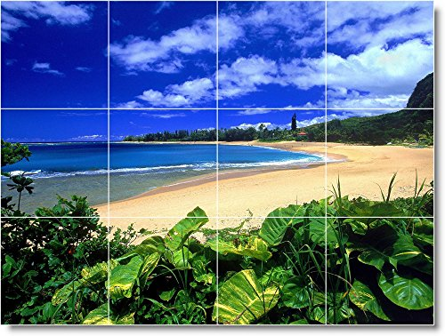 - Ceramic Tile Mural-Beach Scene Bathroom Tile Mural B052. 48