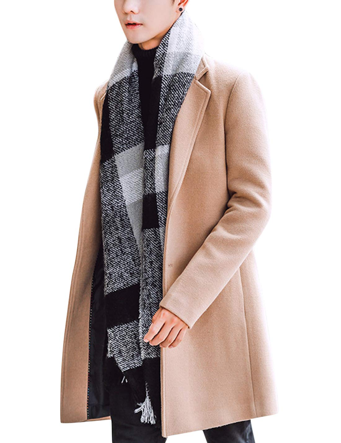 Springrain Men's Notched Lapel Single Breasted Long Pea Coat Trench Coat (Khaki, Large) by Springrain
