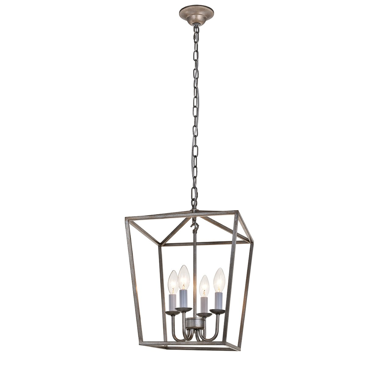 ANJIADENGSHI Lantern Pendant Light Industrial Vintage Lantern Iron Cage Hanging with 4 E12 Bulbs Lantern Chandelier for Traditional Dining Room Bar Cafe, Antique Silver