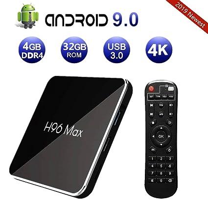 Android 9 0 TV Box, 2019 H96 Max X2 4GB DDR4 Ram 32GB ROM 4K Smart TV Box  Amlogic CPU HDMI 2 1/H265 /Dual WiFi 2 4G 5 0G/100M Ethernet/BT/USB3 0 Set