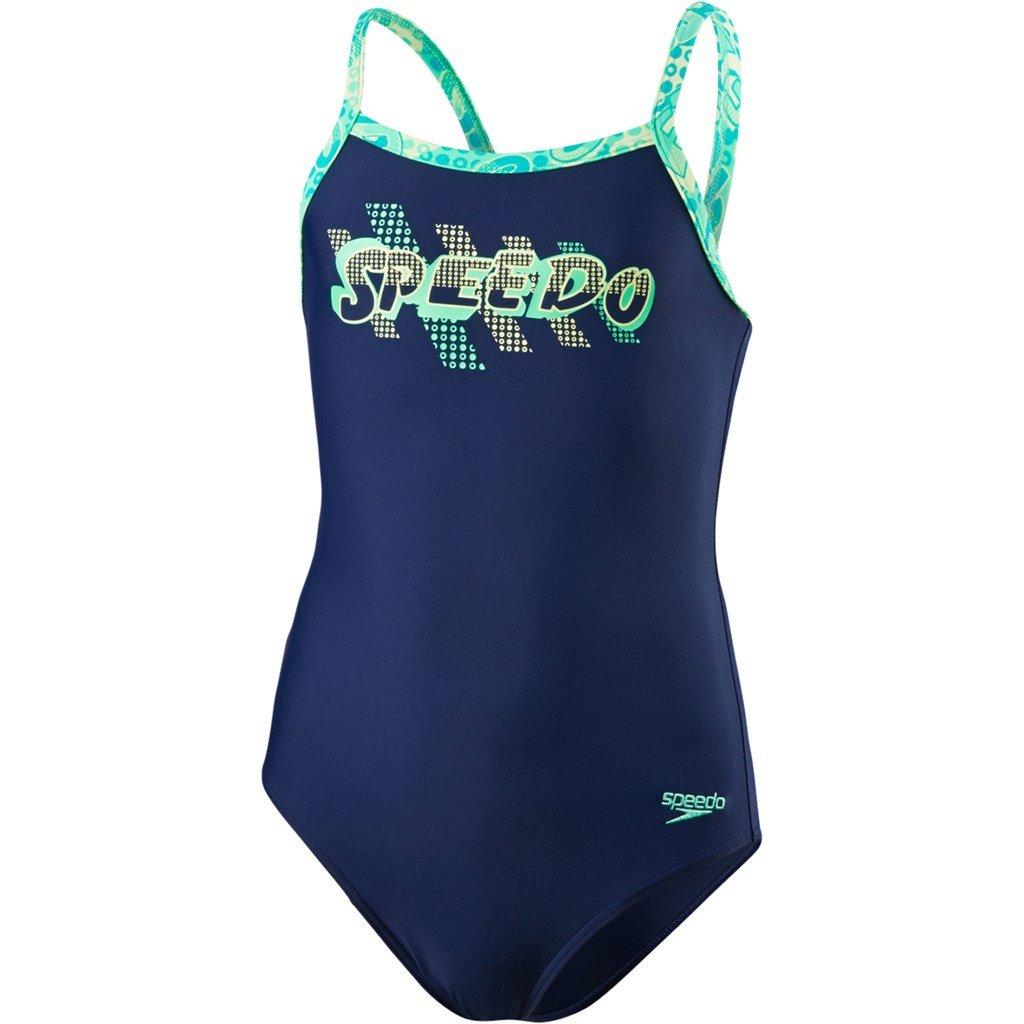 Speedo Plmt Tsrp Msbk 2 Jf, Costume da Bagno Ragazza, Navy /Azzurro/Verde Glow, 6 Anni 8-09533B514