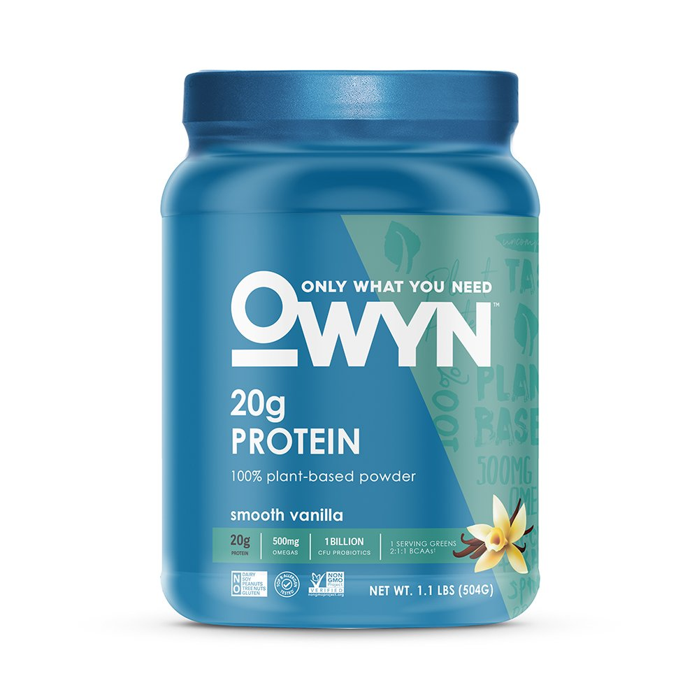 OWYN Only What You Need 100 Percent Vegan Plant-Based Protein Powder, Smooth Vanilla, Dairy-Free, Gluten-Free, Soy-Free, Allergy Friendly, Vegetarian, 1.08 Pound Tub, 1 Count by OWYN Only What You Need