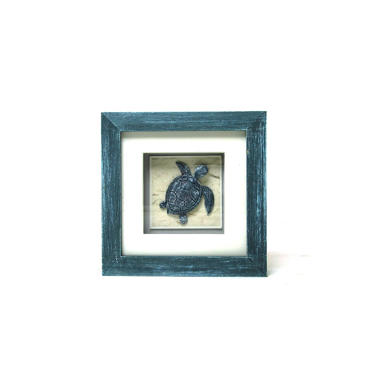 Sea Life Collection - Decorative Turtle Blue Shadow Box by WonderMolly