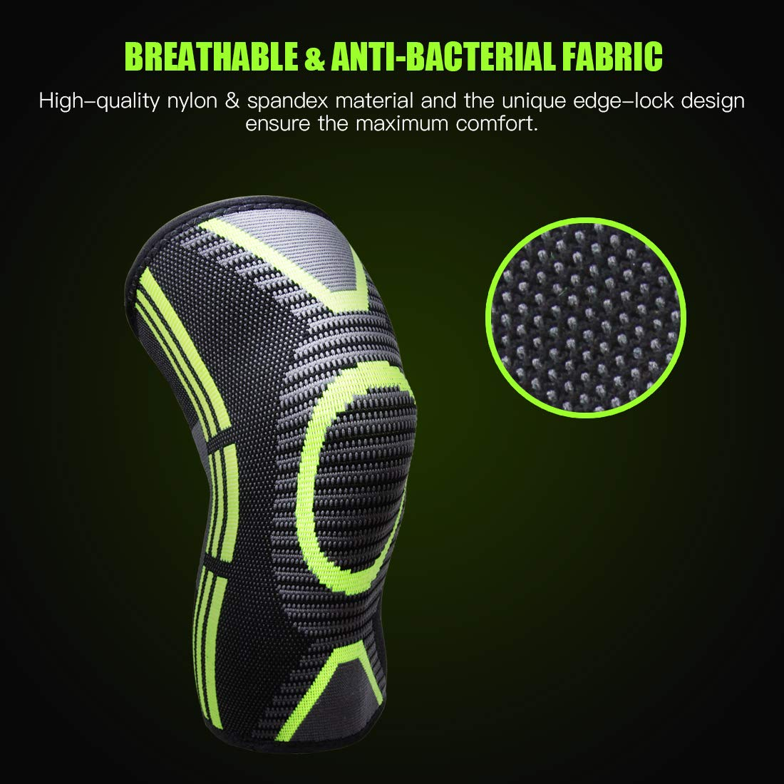 Crossfit Exercise Sports Pads IBAWLY Sports Compression Knee Brace for Men Women Jogging 1 Pair Non-Slip Athletic Knee Sleeves for Running Basketball