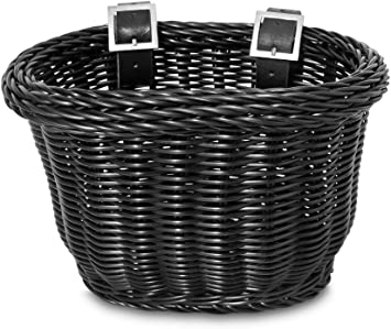 Childrens Bike Basket BROWN With Flowers Traditional Fitting Straps Included