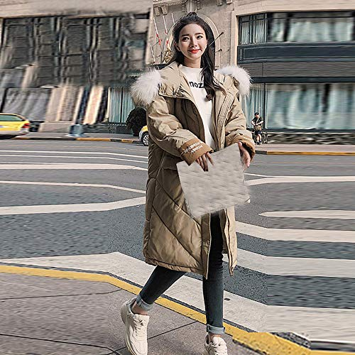 Femme La Zipp Unie Laine Parka Chaude Coat Outwear Kaki Hiver Mode Polaire Manteau Collier Veste en Long Fourrure Couleur Winter Slim Susenstone Capuche Fille Manteau EP7Inw