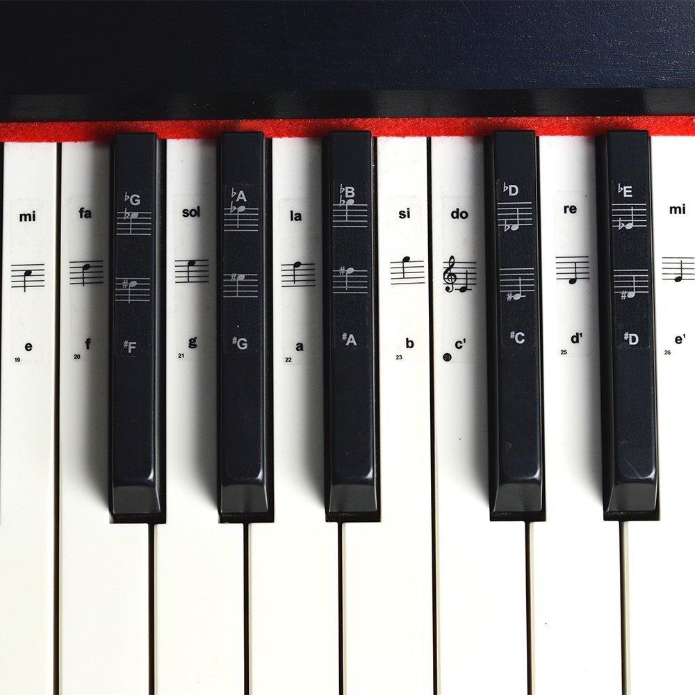 Pegatinas para teclado o piano para teclado de 49/61/76/88, juego completo de pegatinas para teclas blancas y negras, transparentes y extraíbles, ...