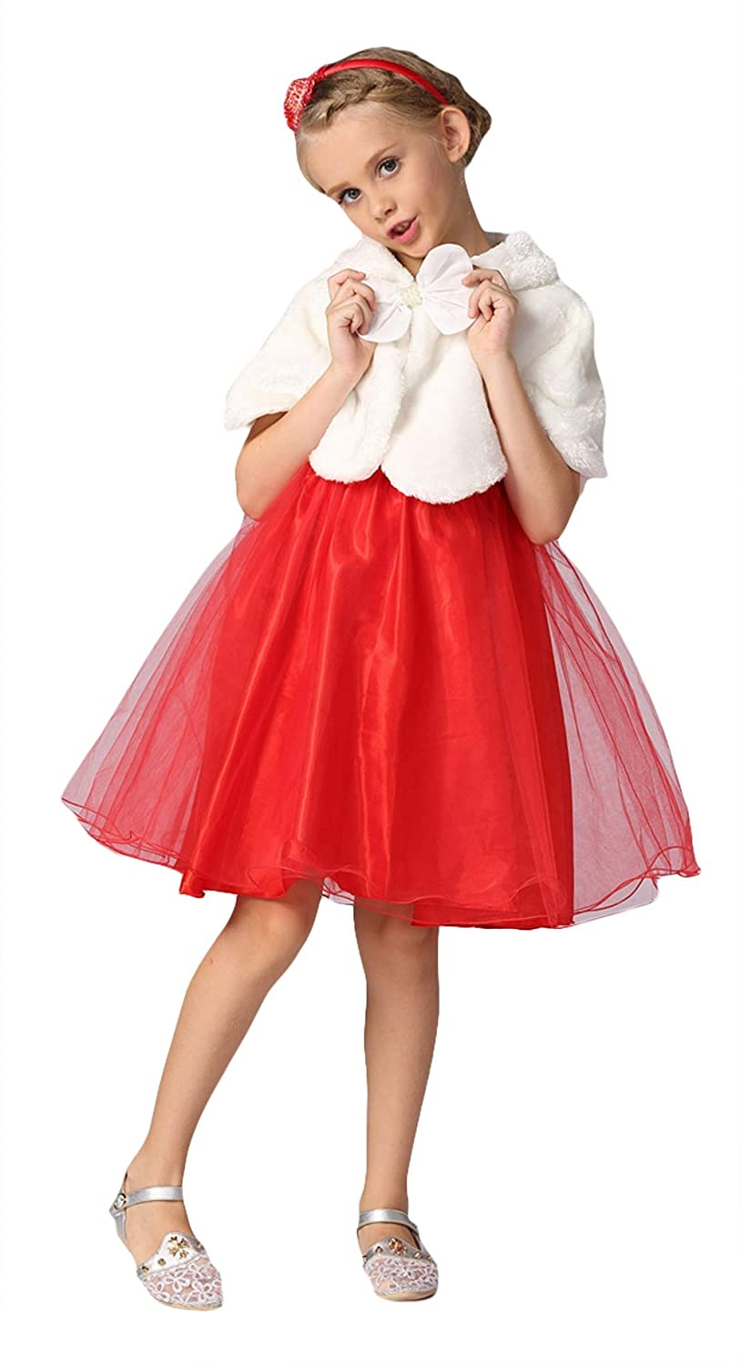 Liveinu Girls Faux Fur Shawl Flower Girl Wraps Cape Princess Bolero Shrug Dress Coat with Bow