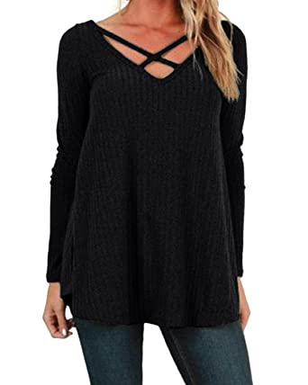 19014052a5 StyleDome Women s Cross Front Long Sleeve V Neck Loose Blouse Casual Plain Jumper  Pullover Sweater Black