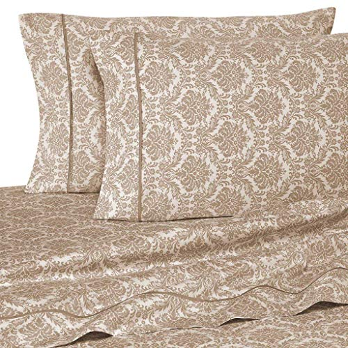 Rajlinen Egyptian Cotton - Set of 2 Pillow Cases -400 Thread Count - Soft and Cozy - King Size - Jacquard Printed Taupe