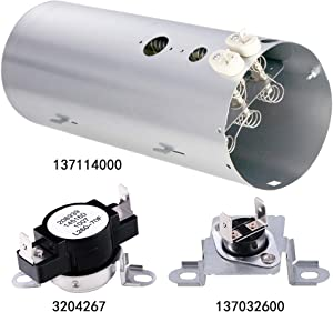 Azdele 137114000 Heavy Duty Dryer Heating Element,3204267 Thermostat and 137032600 Thermal Limiter-Replacement for Frigidaire Electrolux Dryers- Replaces AP4456656 PS2367792 AP4368653