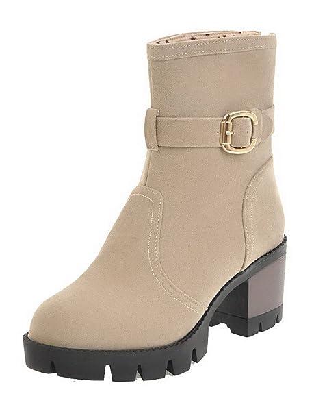 6a63d978189 AgeeMi Shoes Mujer Sólido Hebilla Tacón Medio Caña Baja Puntera Redonda  Botas: Amazon.es: Zapatos y complementos