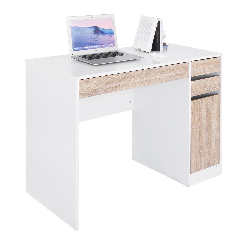WOLTU® TS42ws Scrivania con 3 Cassetti 1 Armadio, Libreria Tavolo da Studio PC Computer Ufficio Lavoro Scaffale Moderno Gambe in Legno 110x50x75cm