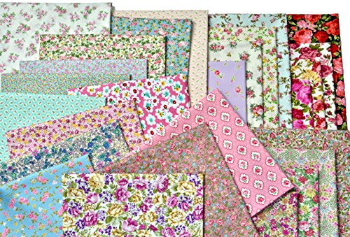 Rose Floral Fabric (Flowers, Roses More Flower, All Floral Patterns - 25 Precut 10-inch by 10-inch Fabric Squares - Great for Quilting. (10in x 10in))