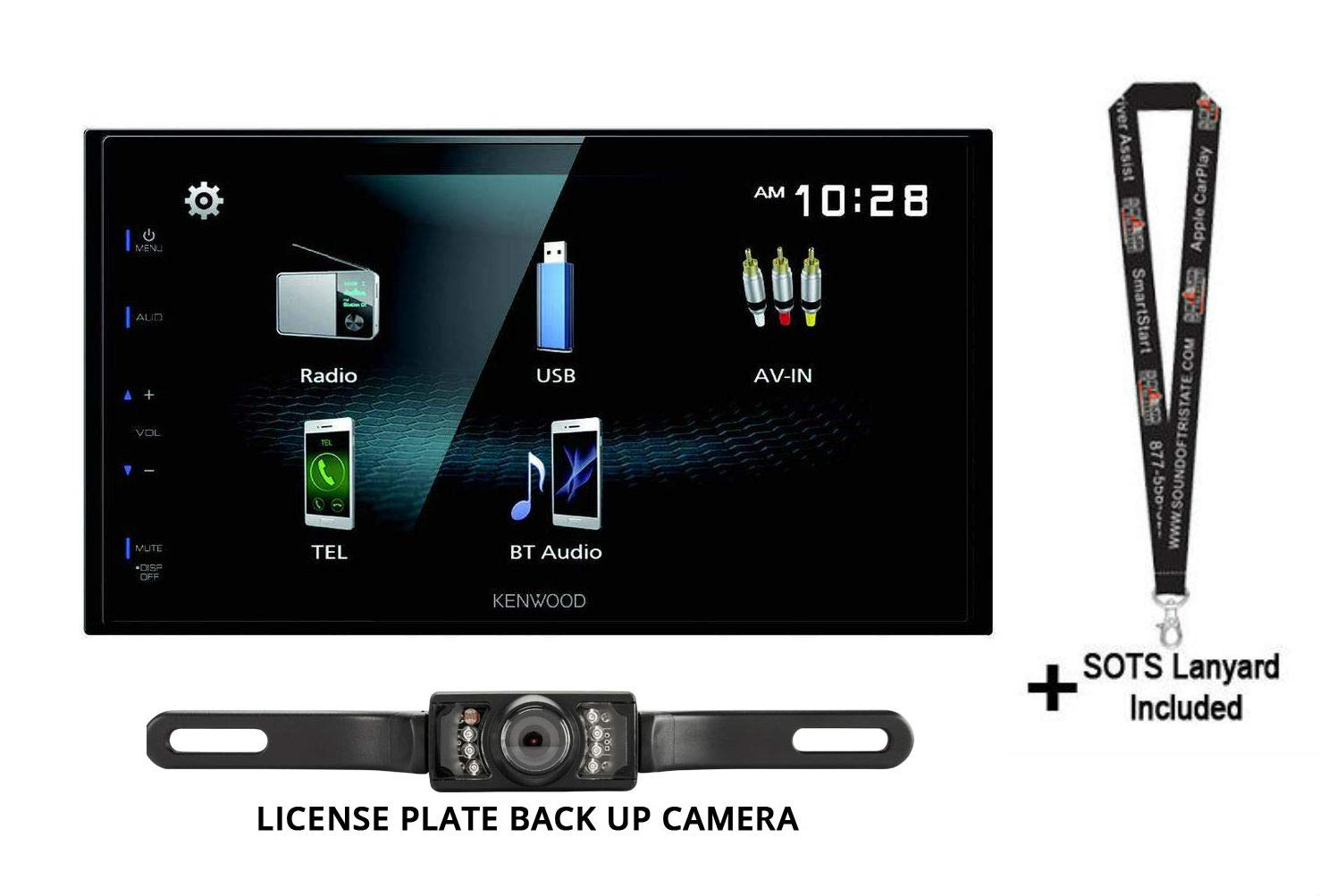 License Plate Style Backup Camera and Lanyard Bundle Sound of Tri-State Kenwood DMX125BT 6.8 Digital Multimedia Receiver with Built in Bluetooth