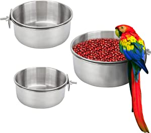 Bird Feeding Dish Cups 3 Pack Parrot Food Bowl Cage with Clamp Holder Stainless Steel Birdcage Coop Water Feeder for Cockatiel Conure Budgies Parakeet Macaw Finches Lovebirds Small Animal