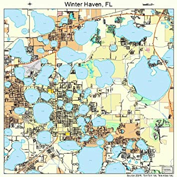 Large Map Of Florida.Large Street Road Map Of Winter Haven Florida Fl Printed Poster