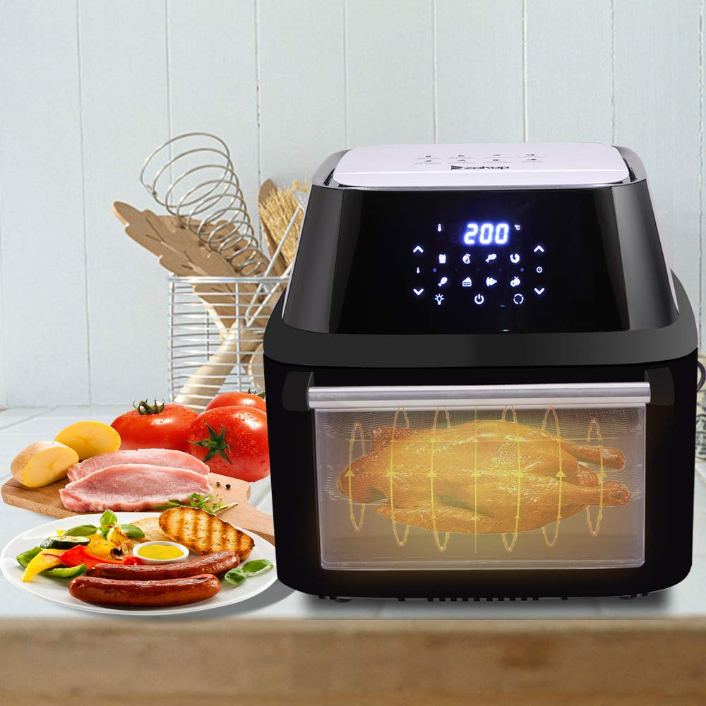 16L Air Fryer Oven Rotisserie With 8 Cooking Presets, Timer, Digital Touch Screen And Temperature Control, Air Fryer for Healthy Oil Free or Low Fat Cooking by OCHII