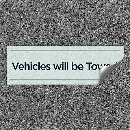 CGSignLab |''Vehicles Will Be Towed -Basic Teal'' Heavy-Duty Industrial Self-Adhesive Aluminum Wall Decal (5-Pack) | 36''x12''