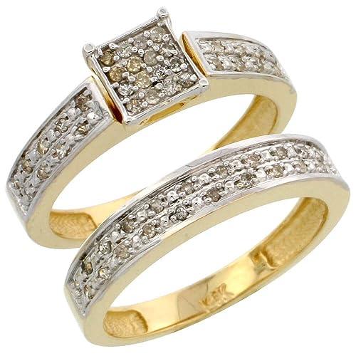 14 ct oro 2 piezas Anillo de compromiso de diamante, w/0,24