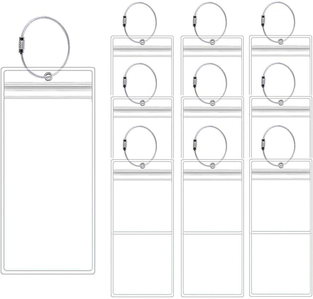 Cruise Luggage Tags 10 Pack Clear Luggage E-tags Holders Zip Seal Steel Loops for Cruise Ships