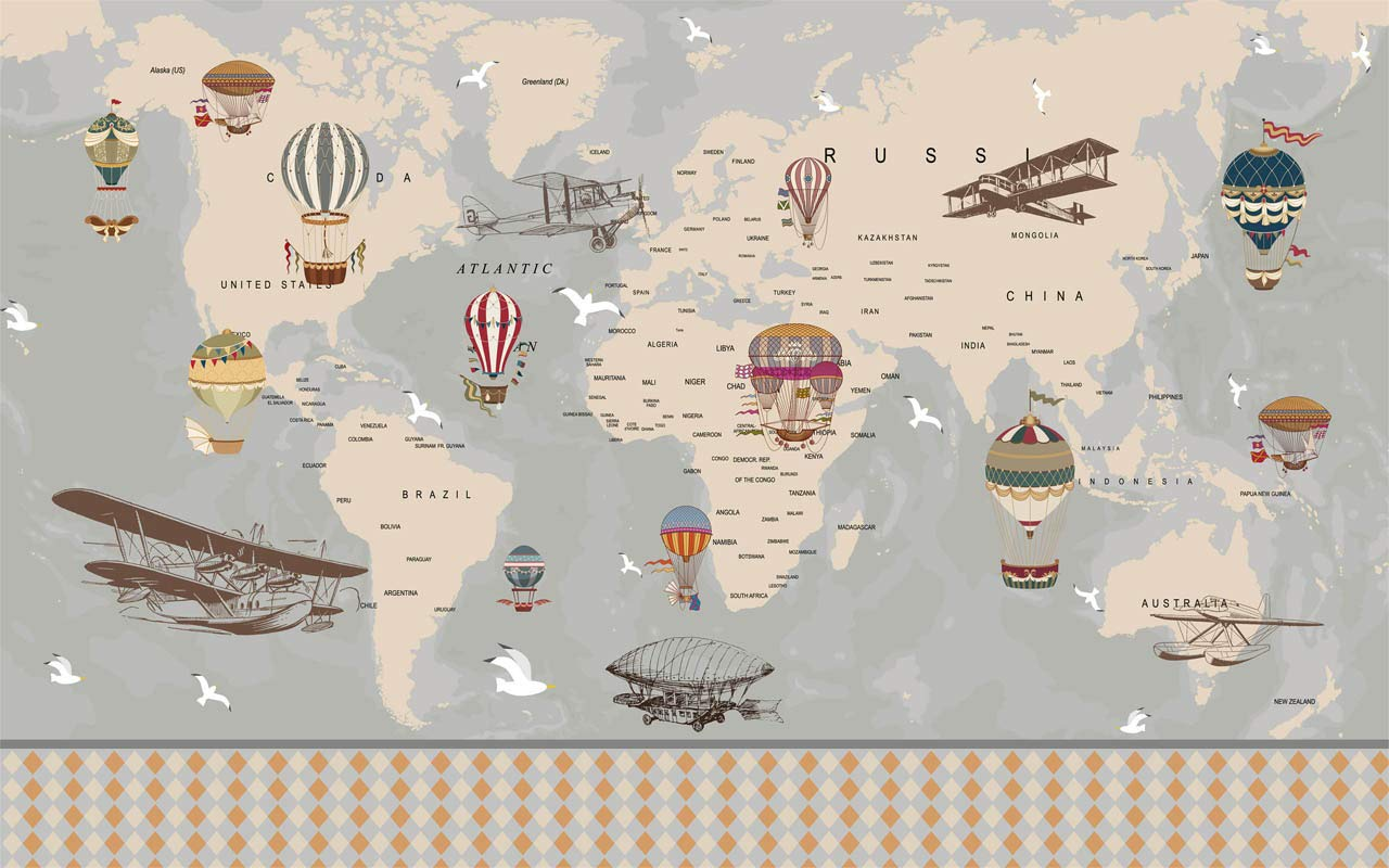Amazon Com World Map With Vintage Hot Air Balloon And