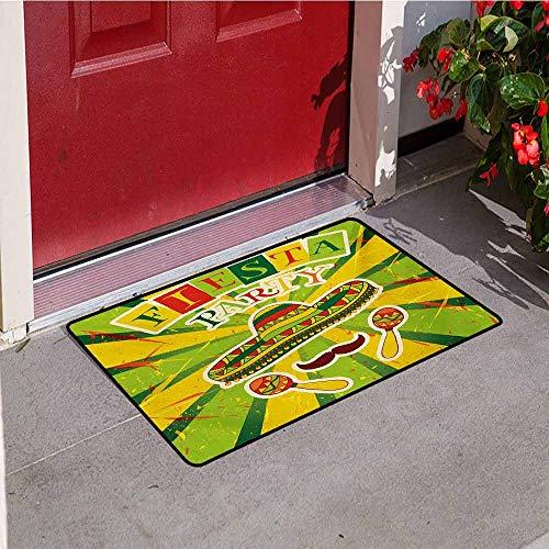 Jinguizi Fiesta Front Door mat Carpet Sprites with Sombrero Maracas Mustache Mexican Hand Drawn Illustration Machine Washable Door mat W19.7 x L31.5 Inch Green Yellow Vermilion