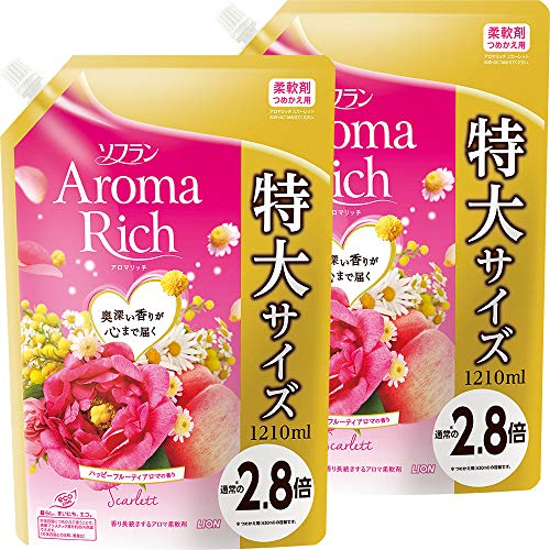 【まとめ買い 大容量】ソフラン アロマリッチ 柔軟剤 スカーレット(ハッピーフルーティの香り) 詰め替え 1210ml×2個