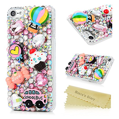 Bus Ipod - iPod Touch 6 Case,Mavis's Diary Luxury 3D Handmade Bling Crystal Rhinestone Diamonds Hot Air Balloon School Bus Candy Ice Cream Fashion Cute Design Shockproof Protective Hard PC Cover