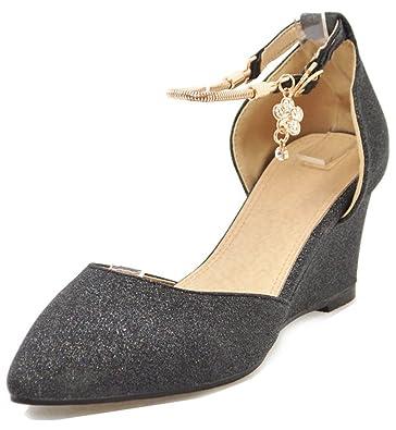 9b43b6c7bdbb Aisun Women's Glitter Sequins Buckled Medium Heel Dressy Closed Toe Wedge  Sandals with Ankle Strap (