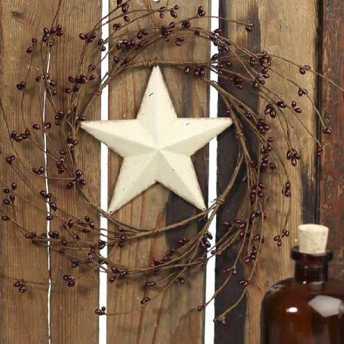 Decorative Burgundy Pip Berry Wreath with Off White Barn Star Center ()