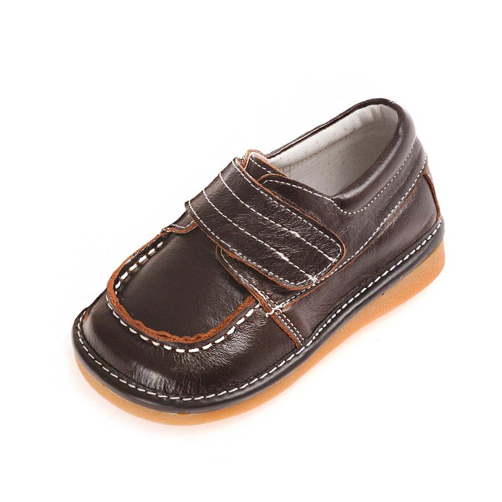 HLT Toddler/Little Kid Boy Wide Hook&Loop Strap Brown Squeaky Shoe [US 4 / EU 20]