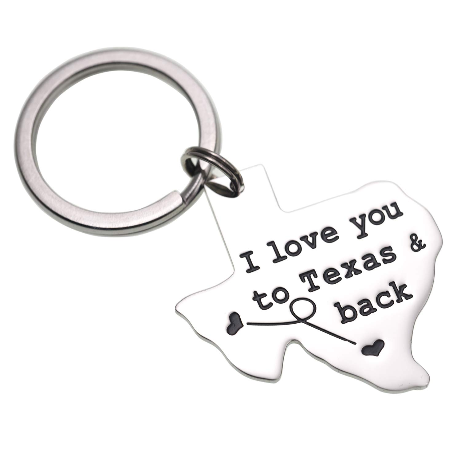 LParkin I Love You to Texas Back Keychain Boyfriend Girlfriend Long Distance Relationship Gift Going Away Gifts Friendship B07G9X2DS3_US
