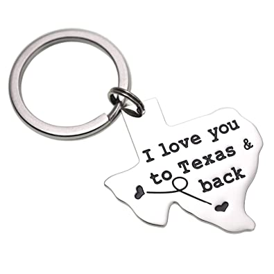 Amazoncom Lparkin I Love You To Texas And Back Keychain Boyfriend