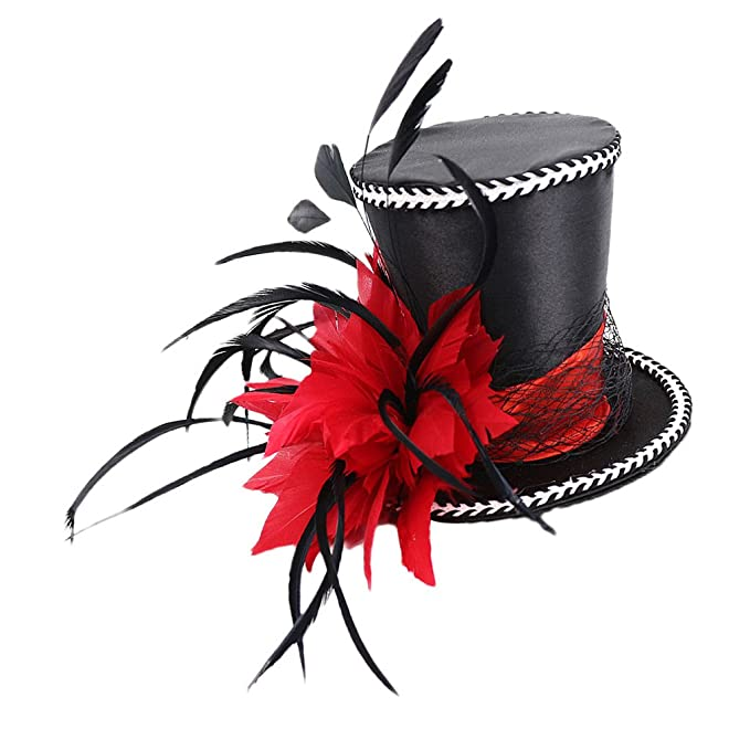 Wedding Bridal Mini Top Hat 20s Gatsby Feather Fascinator with Clips Headpieces