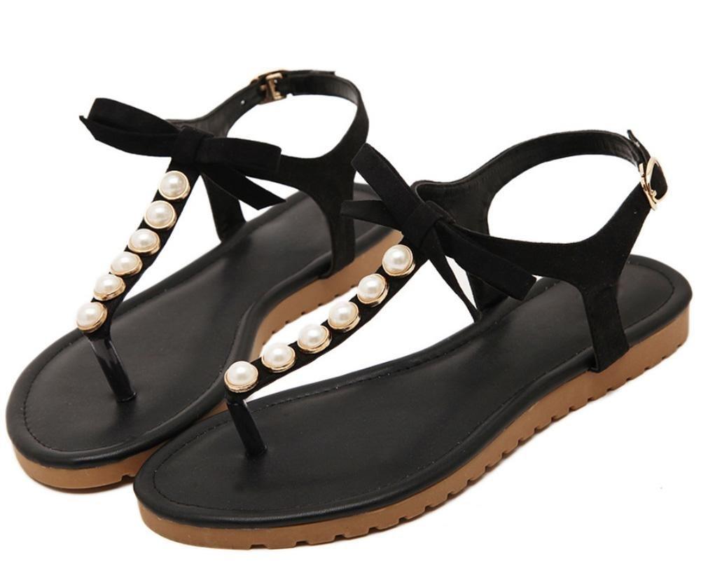 Bogen Perlen flache Sandalen hohle Sandalen Casual Sandalen Sommer Sandalen weibliche Studenten Black