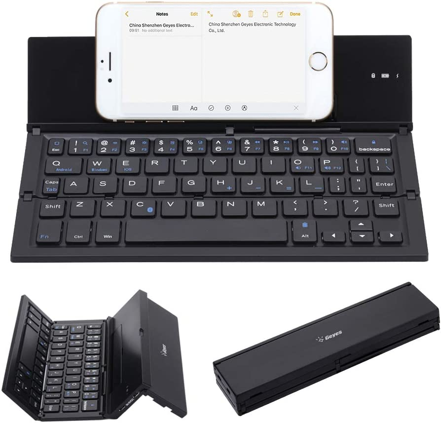 Black Notebook Bluetooth Keyboard Wireless Portable Ultra-Thin Tri-Fold Office Touch Screen Mini Multi-System Universal Portable