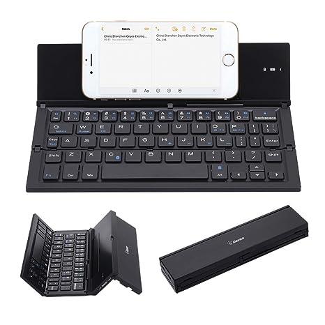 537678344b6 Folding Keyboard, Geyes Portable Ultra-Thin Wireless BT Keyboard Aluminum  Alloy with Kickstand Universal