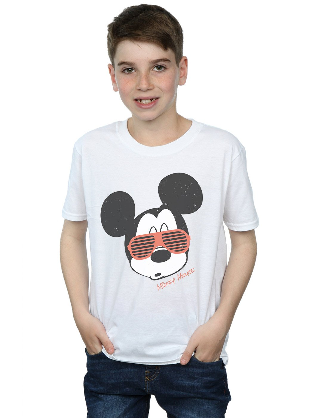 Disney Boys Mickey Mouse Sunglasses T-Shirt White 5-6 Years