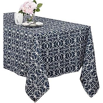 Benson Mills Geo Indoor/outdoor Spillproof Tablecloth (blue, 70 Inch Round)
