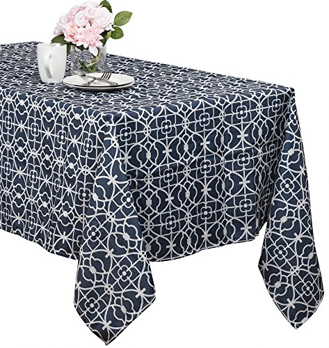 (Benson Mills Geo Indoor/outdoor Spillproof Tablecloth (blue, 60-inch by)