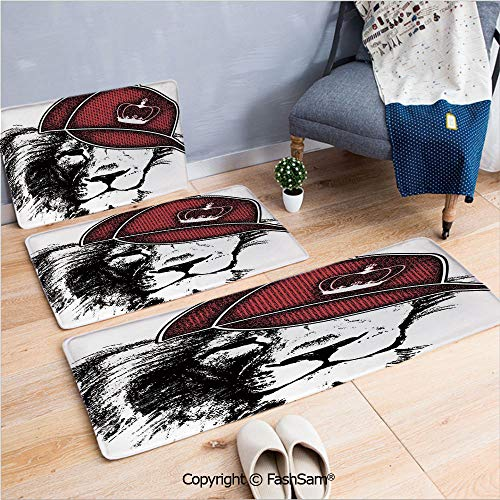 FashSam 3 Piece Non Slip Flannel Door Mat Hipster Leon with Sports Hat and Digital Grunge Effects African King Print Indoor Carpet for Bath Kitchen(W15.7xL23.6 by W19.6xL31.5 by W31.4xL47.2) ()